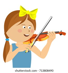 Cute little girl with string playing violin