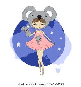 Cute little girl in a suit of coala with a toy. Character design illustration. Halloween. Masquerade. Print for children. Background for kids