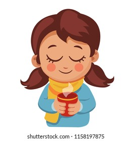 Cute little girl in sweater and scarf holding a Cup of hot drink. Child and comfort during the cold season. winter or autumn cartoon vector illustration