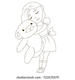 Cute Little Girl With Teddy Bear Doll Dress Kids Coloring Page