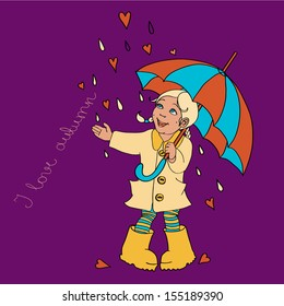 Cute little girl with umbrella background for your design