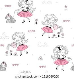 cute little girl vector seamless pattern illustration