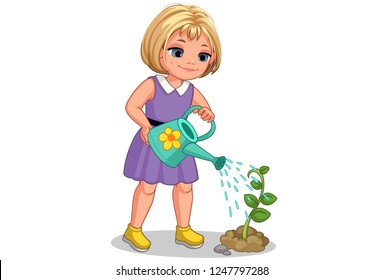 Cute little girl watering the plant vector illustration