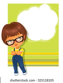 Cute little girl wearing glasses. White  text frame. Yellow-green striped background with place for text. Design of card, invitation, book, notepaper cover.
