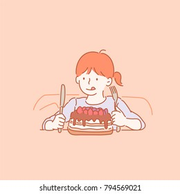 Cute little girl who wants to eat cake. hand drawn style vector doodle design illustrations.