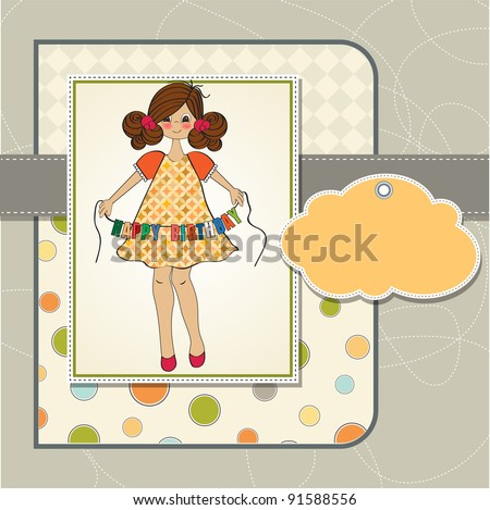 Cute Little Girl Wishing You Happy Stock Vector Royalty Free