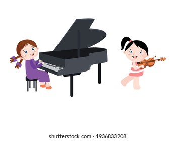 Cute little girls cartoon playing piano and violin together, isolated on white background