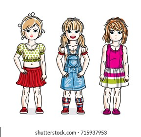 Cute little girls group standing wearing casual clothes. Vector diversity kids illustrations set.