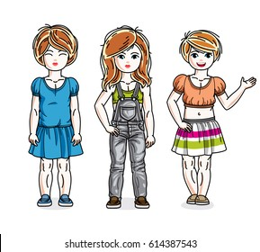 Cute little girls standing in stylish casual clothes. Vector kids illustrations set. Childhood and family lifestyle cartoons.