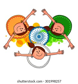 Cute little girls in tricolor dress, enjoying and celebrating Indian Independence Day.