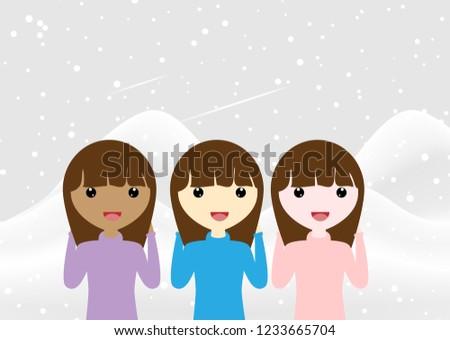 7a9e2a8badfd Cute Little Girls Winter Vector Illustration Stock Vector (Royalty ...