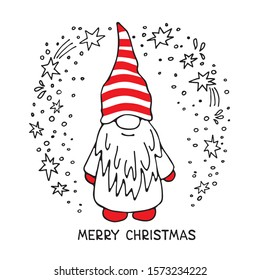 Cute little gnome on white background. Christmas and New Year characters. Vector illustration. Hand drawn style. Doodle style. Design elements for greeting card, poster, leaflet, booklet, banner.