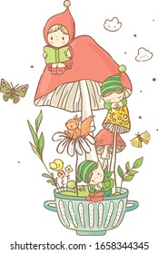 Cute little gnomes and elves/ magic tea party