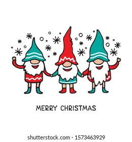 Cute little gnomes on white background. Christmas and New Year characters. Vector illustration. Hand drawn style. Doodle style. Design elements for greeting card, poster, leaflet, booklet, banner.