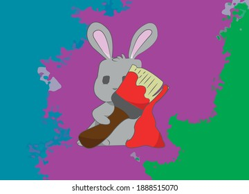 A cute little gray bunny with a paint brush in his hand. The fresh red paint is still dripping down the brush onto the floor. The background is colorfully patterned.