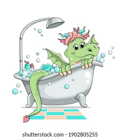 Cute little green cartoon dragon taking a bath