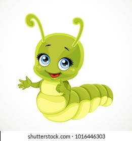 Cute little green caterpillar isolated on white background
