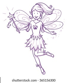 Cute little happy fairy girl flying with wand. Hand drawn vector cartoon doodle illustration