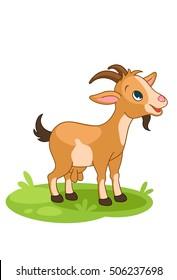 Cute little happy Goat cartoon vector illustration