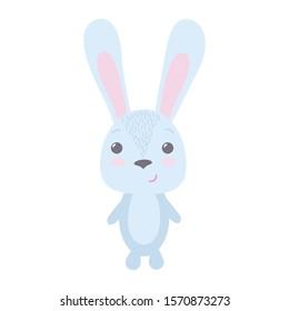 Cute little hare, vector illustration on white background