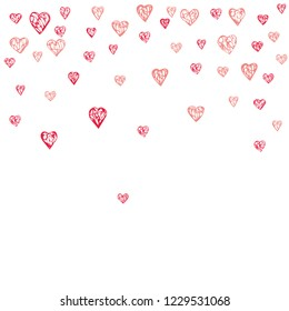 Cute little hearts pattern, random order. Perfect pink hearts backround for Valentines Day greeting card or wedding design. Small heart shapes in different sizes and colors. Vector illustration.