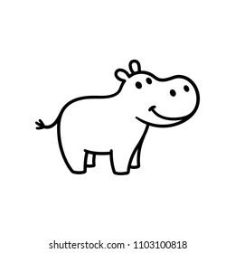 Cute little hippo drawing, line art illustration for coloring book. Funny cartoon baby hippopotamus.
