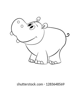 Cute little hippo drawing, line art illustration for coloring book. Funny cartoon baby hippopotamus,  Can be used for t-shirt print, kids wear fashion design, baby shower invitation card. - Vector