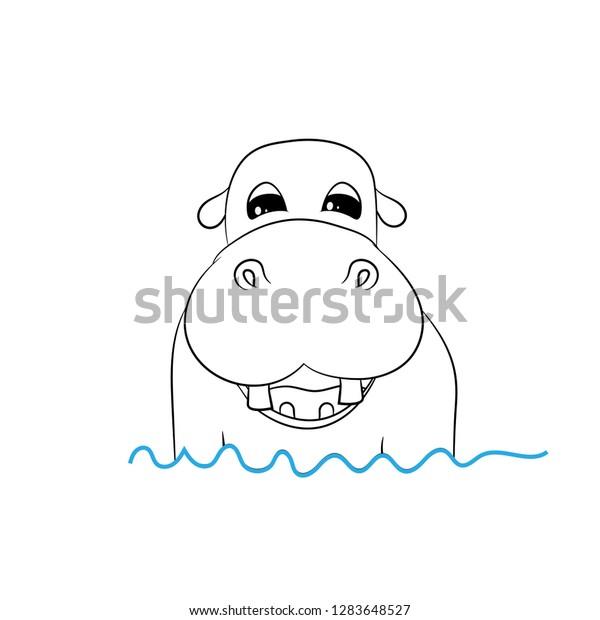 Hippopotamus Drawing In Water