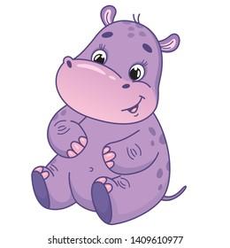 Cute little hippo. Vector cartoon hippo. Vector illustration for children