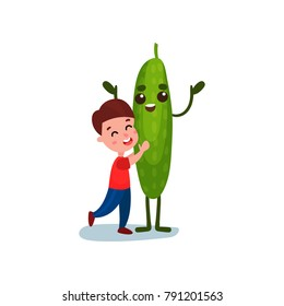 Cute little hugging giant cucumber vegetable character, best friends, healthy food for kids cartoon vector Illustration