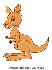 Cute little kangaroo vector illustration.