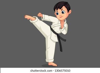 Cute little karate boy in karate pose 1