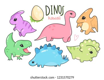 Cute little kawaii dinosaurs. Hand drawn colored vector set. All elements are isolated
