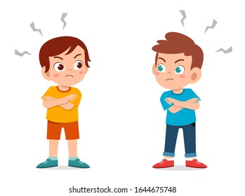 cute little kid boy angry each other