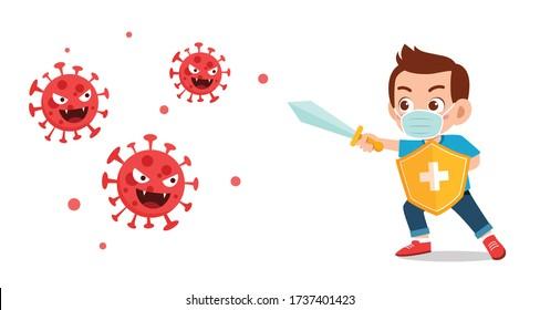 cute little kid boy fight against corona virus