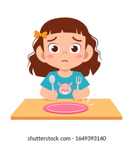 cute little kid girl feel hungry want to eat