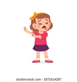 cute little kid girl show refuse and disgust pose expression