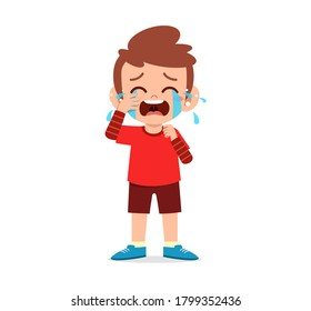 cute little kid stand while crying