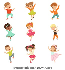 Cute little kids dancing set, modern and classical dance performed by children vector Illustrations isolated on a white background.