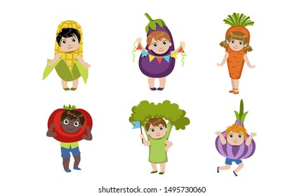 Cute Little Kids Dressed As Vegetables Set, Corn Cob, Eggplant, Carrot, Tomato, Broccoli, Garlic Vector Illustration