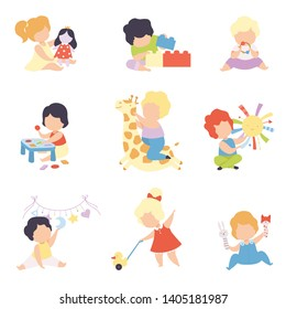 Cute Little Kids Playing with Toys Set, Toddler Boys and Girls Playing with Doll, Blocks, Stuffed Toys, Sorter, Rattle Vector Illustration