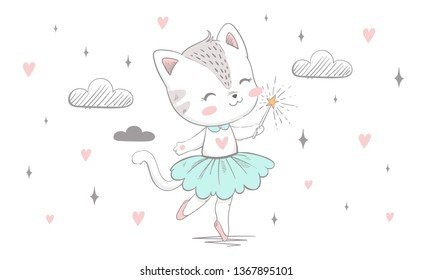 cute little kitty with a magic wand dancing with clouds