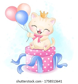 Cute little kitty sitting in the gift box illustration