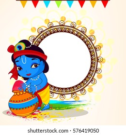 Cute Little Krishna playing with colors on the occassion of Holi, Wallpaper design with Line Art based Floral Frame.