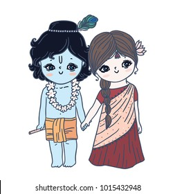 Cute little Krishna and Radha.Happy Janmashtami