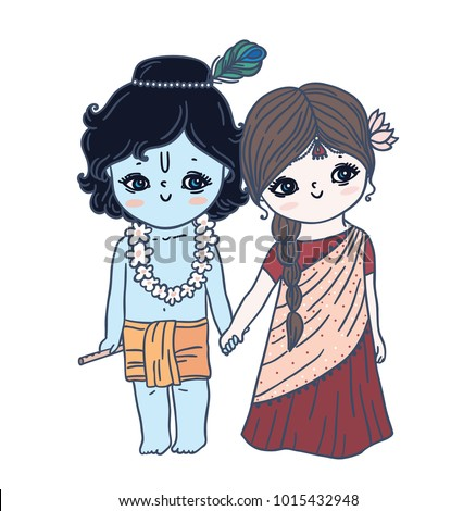 Image of: Images Cute Little Krishna And Radhahappy Janmashtami Fine Art America Cute Little Krishna Radha Happy Janmashtami Stock Vector royalty