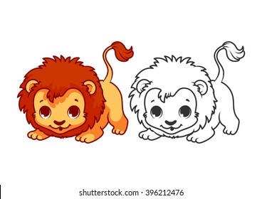 Cute little lion. Cartoon vector character isolated on a white background with black outline.