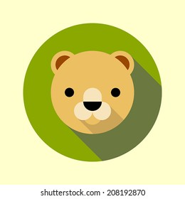 Cute little lion icon. Flat long shadow design. Animal icons series.