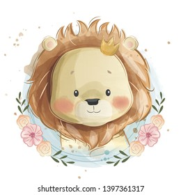 Cute Little Lion Portrait in Flower Wreath