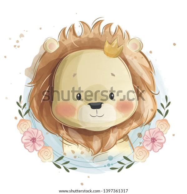 Cute Little Lion Portrait in Flower Wreath